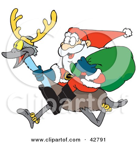 Clipart Illustration of Santa Riding An Emu With Antlers by Dennis Holmes Designs