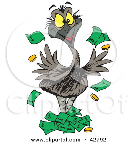 Clipart Illustration of a Wealthy Emu Bird Tossing Money Into The Air by Dennis Holmes Designs