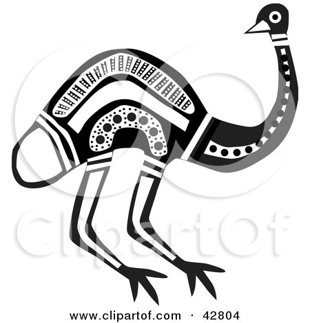 Clipart Illustration of a Black And White Aboriginal Emu Bird by Dennis Holmes Designs