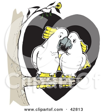 Clipart Illustration of a White And Yellow Cockatoo Bird Pair Cudding In A Tree by Dennis Holmes Designs