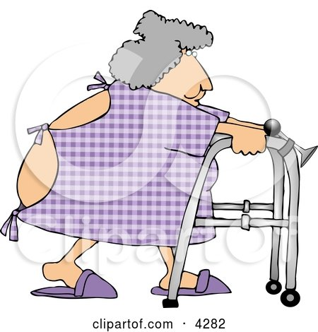 Hospitalized Obese Woman Using a Walker Clipart by djart
