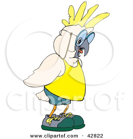 Clipart Illustration of a White And Yellow Cockatoo Bird Giving A Lecture by Dennis Holmes Designs