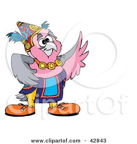 Clipart Illustration of a Lucky Galah Cockatoo Bird by Dennis Holmes Designs