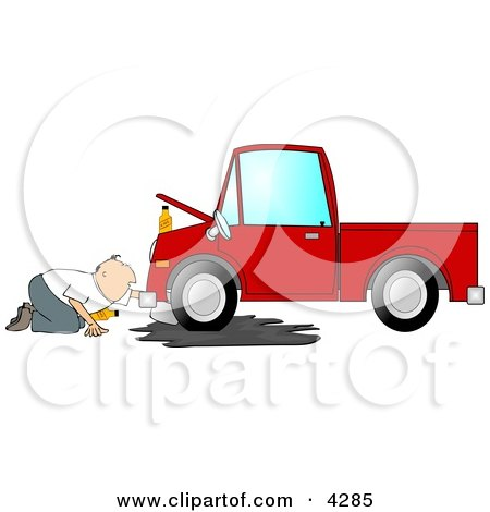 Man Trying to Give a Red Truck an Oil Change Clipart by djart