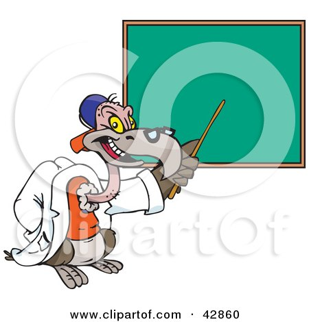 Clipart Illustration of a Teacher Vulture Pointing To A Chalk Board by Dennis Holmes Designs