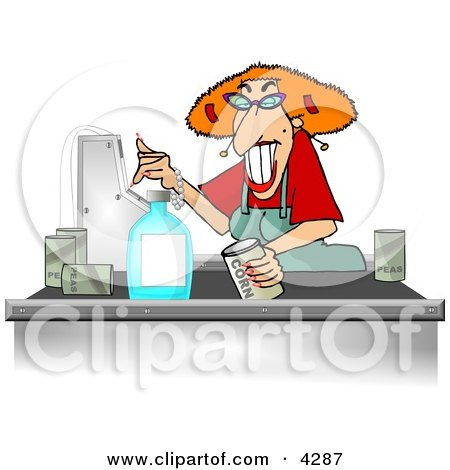 Grocery Store Checkout Clerk Ringing Up Food Items In Her Cash Register Clipart by djart