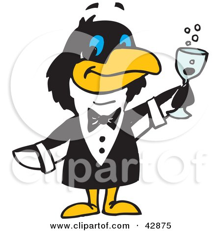 Clipart Illustration of a Penguin Waiter Serving Champagne by Dennis Holmes Designs
