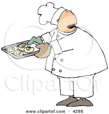 Male Baker Looking Over His Shoulder While Holding A Tray Of Raw Cinnamon Rolls Clipart