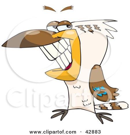 Clipart Illustration of a Handsome Grinning Kookaburra Bird by Dennis Holmes Designs