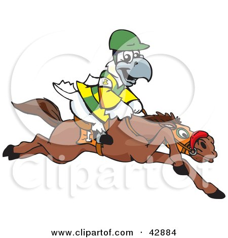 Clipart Illustration of a White And Yellow Cockatoo Bird Jockey Riding Horseback by Dennis Holmes Designs
