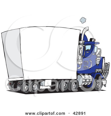 Royalty-Free (RF) Clipart Illustration of a Speeding Blue Semi ...