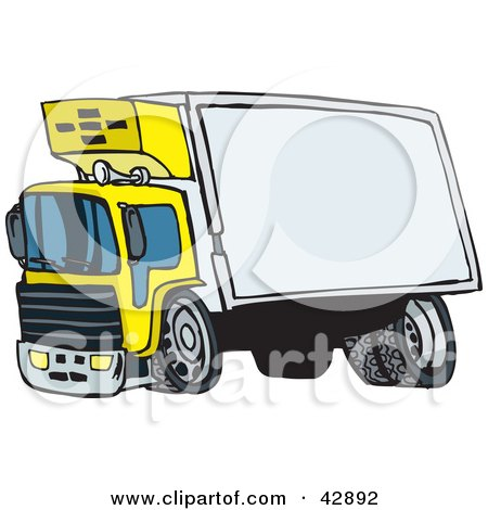 Clipart Illustration of a Yellow Big Rig With A Blank Trailer For You To Insert Your Text by Dennis Holmes Designs