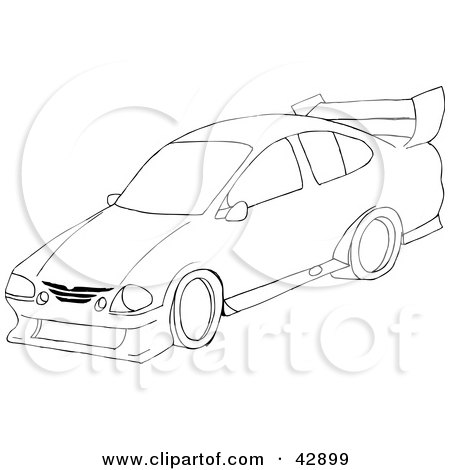 Black  White Clip  Auto Racing on Clipart Illustration Of A Black And White Sports Car Sketch By Dennis