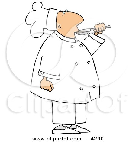 Male Chef Tasting Food Before Serving It To Customers Clipart by djart