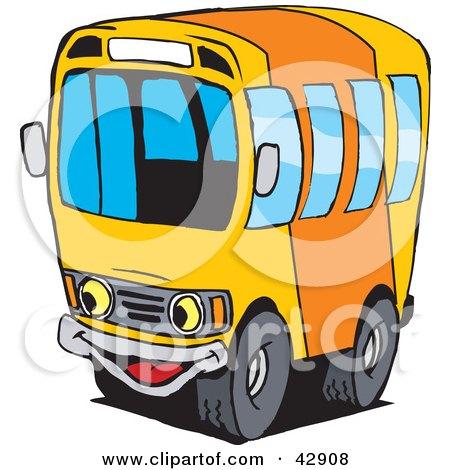 Happy Orange And Yellow School Bus Character Posters, Art Prints
