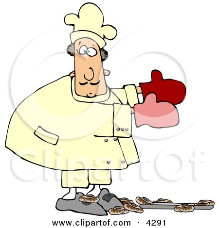Baker Accidentally Dropping a Pan of Baked Cinnamon Rolls On the Floor Clipart by djart