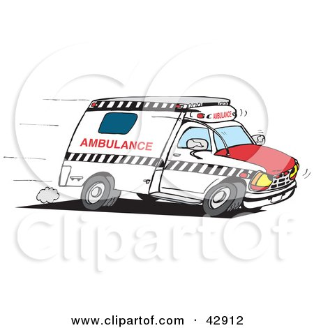 Clipart Illustration of a Paramedic Ambulance Speeding To An Emergency Scene by Dennis Holmes Designs