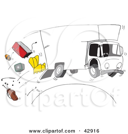 Clipart Illustration Of A Moving Truck Speeding Over Hill Furniture Spilling Out The Back By Dennis Holmes Designs