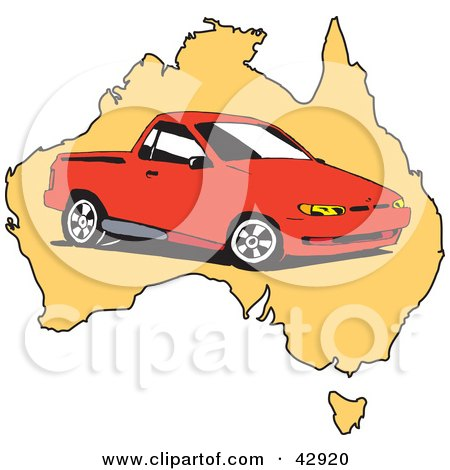 Clipart Illustration of a Red Ute Vehicle On A Map Of Australia by Dennis Holmes Designs