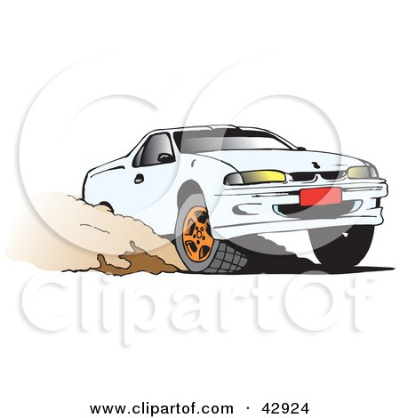 Clipart Illustration of a White Ute Vehicle Speeding Through Dirt by Dennis Holmes Designs