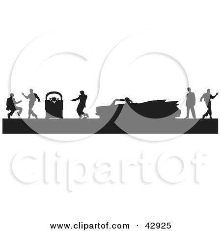 Black Silhouetted Scene Of Men Dancing Around A Jukebox And Convertible Cadillac Posters, Art Prints