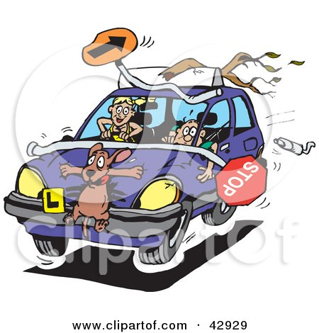 Clipart Illustration of a Crazy Teen Girl Running Over A Dog And Items During A Driving Lesson by Dennis Holmes Designs