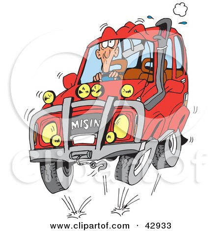 Clipart Illustration of a Man Four Wheeling in His Red SUV by Dennis Holmes Designs