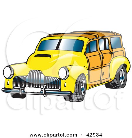 Clipart Turquoise Woodie Station Wagon With A Surfboard On