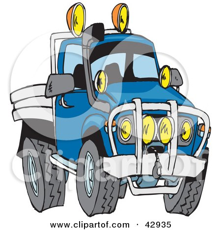 Clipart Illustration of a Tough Blue Flat Bed Truck by Dennis Holmes Designs