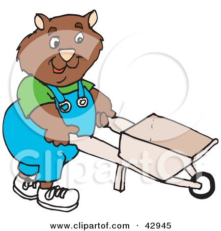 Clipart Illustration of a Landscaper Wombat Pushing A Wheelbarrow by Dennis Holmes Designs