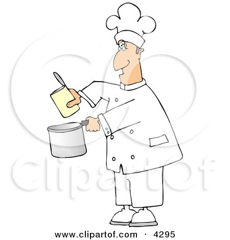 Chef Pouring Food from a Can Into a Cooking Pot Clipart by Dennis Cox
