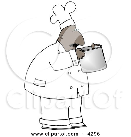 Ethnic Male Chef Smelling Food In A Cooking Pot Clipart
