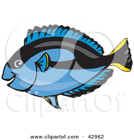Clipart Illustration of a Happy Blue Regal Tang Fish by Dennis Holmes Designs