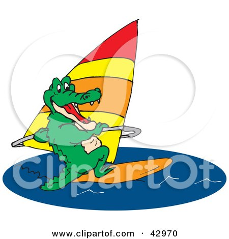 Clipart Illustration of a Green Crocodile Windsurfing by Dennis Holmes Designs