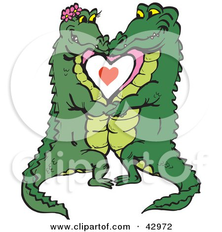 Clipart Illustration of a Smooching Crocodile Couple by Dennis Holmes Designs