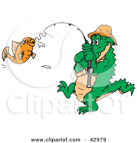 Clipart Illustration of a Crocodile Reeling In A Fish by Dennis Holmes Designs