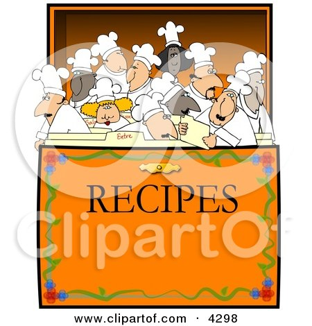 Concept Clipart Illustration of Chef's & Cooks in a Recipe Box by Dennis Cox