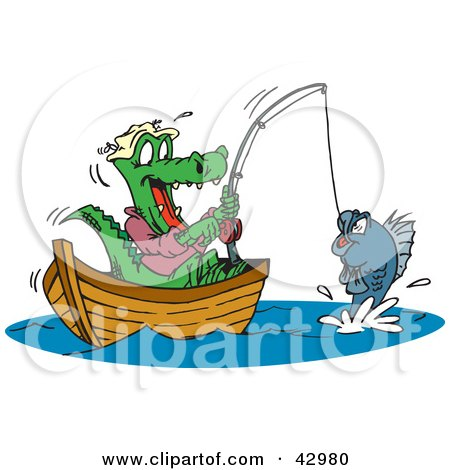 Clipart Illustration of a Crocodile Fishing In A Boat, Reeling In His Catch by Dennis Holmes Designs