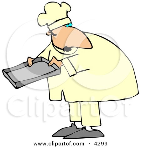 Male Baker Holding A Pan Clipart