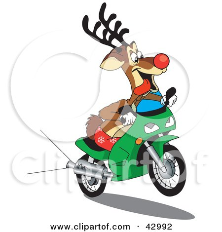 Clipart Illustration of Rudolph The Red Nosed Reindeer Riding A Green Scooter by Dennis Holmes Designs