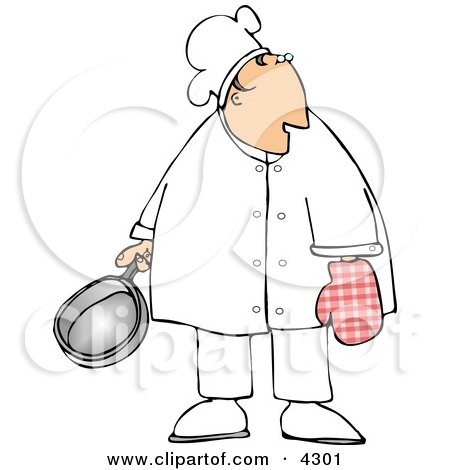 Male Chef Wearing An Oven Mitten And Holding A Cooking Pot Clipart