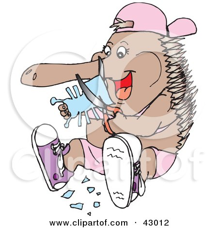 Clipart Illustration of an Echidna Cutting An Ant Out Of A Piece Of Paper by Dennis Holmes Designs