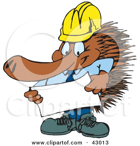 Clipart Illustration of a Contractor Echidna Looking Over Plans by Dennis Holmes Designs