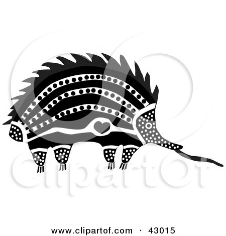 Clipart Illustration of an Aboriginal Designed Spiny Anteater Echidna by Dennis Holmes Designs