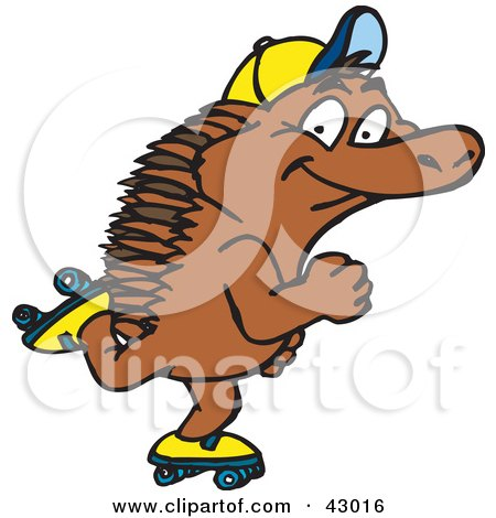 Clipart Illustration of a Happy Roller Skating Echidna by Dennis Holmes Designs