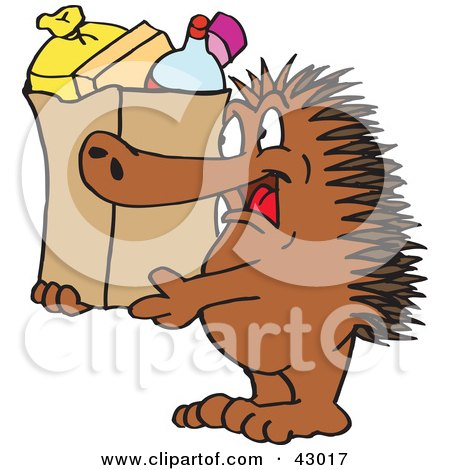 Clipart Illustration of a Spiny Anteater Echidna Carrying A Shopping Bag by Dennis Holmes Designs