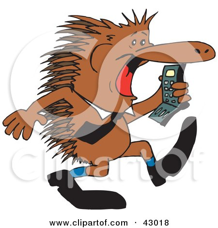 Clipart Illustration of a Business Echidna Screaming At A Cell Phone by Dennis Holmes Designs