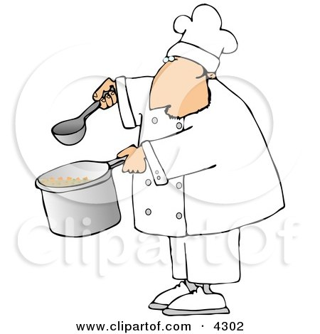 Male Chef Holding A Spoon And Pot Of Soup Clipart By Djart 4302