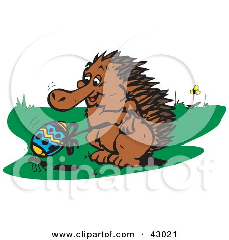 Clipart Illustration of an Echidna Holding The Rope To An Easter Egg That An Ant Is Trying To Carry by Dennis Holmes Designs