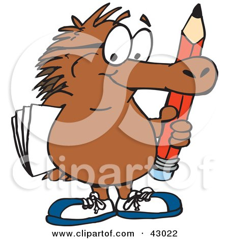 Clipart Illustration of a Smart Echidna Carrying A Pencil And Paper by Dennis Holmes Designs